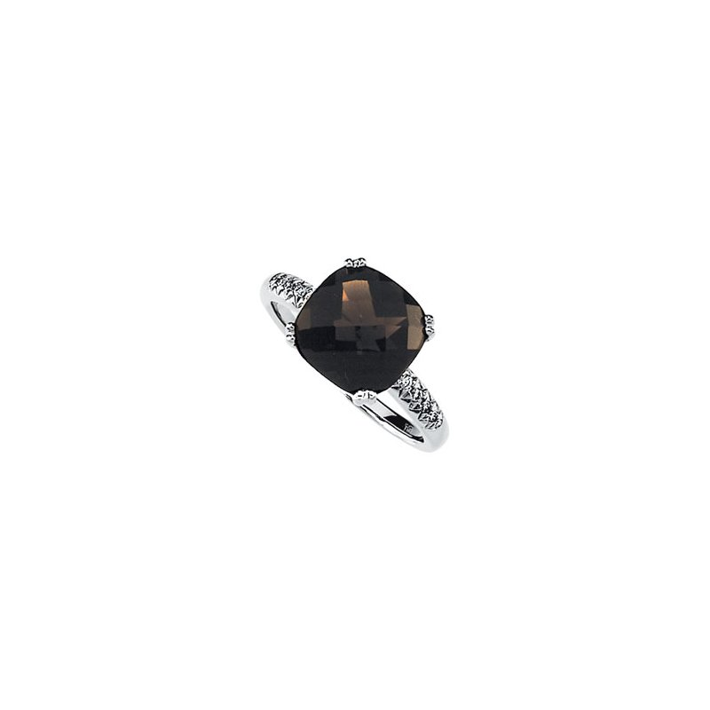 Ladies' Jewelry Genuine Checkerboard Smoky Quartz & Diamond Ring