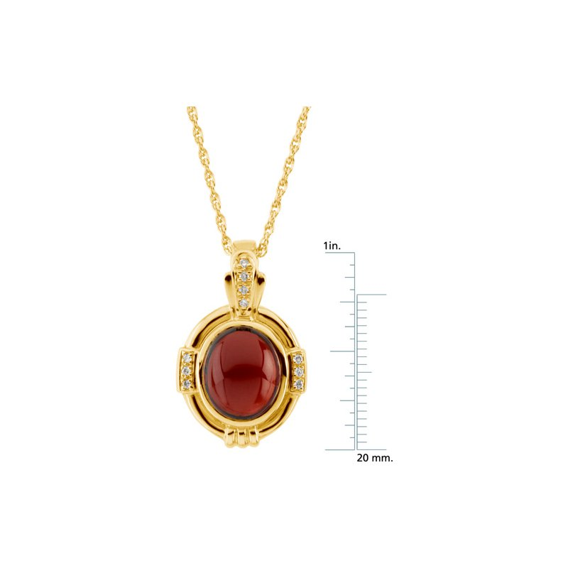 Ladies' Jewelry Genuine Mozambique Garnet & Diamond Necklace