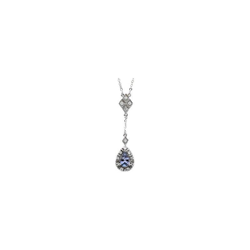 Ladies' Jewelry Genuine Tanzanite & Diamond Necklace