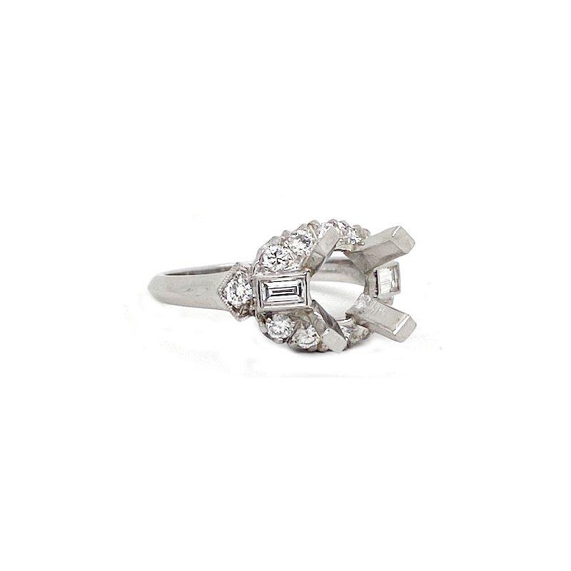 Vintage Bridal Diamond and Platinum, New, Vintage Style, engagement ring,Mounting