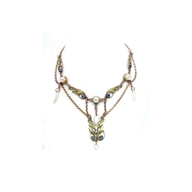 Estate & Vintage Lady's Art Nouveau design imitation pearl and yellow gold filled festoon necklace