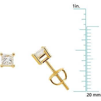 Princess-Cut Diamond Stud Earrings
