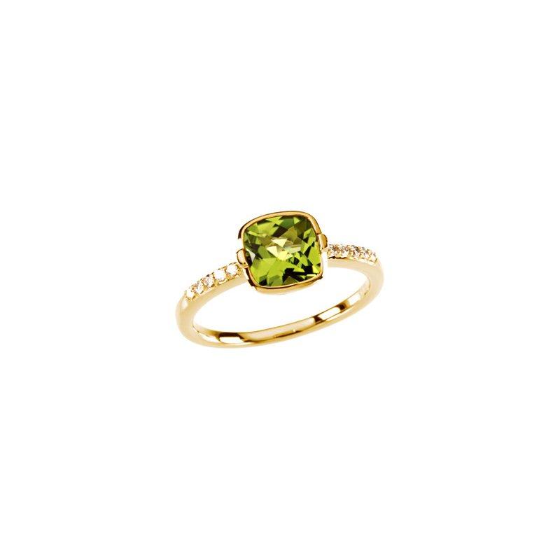 Ladies' Jewelry Genuine Checkerboard Peridot & Diamond Ring