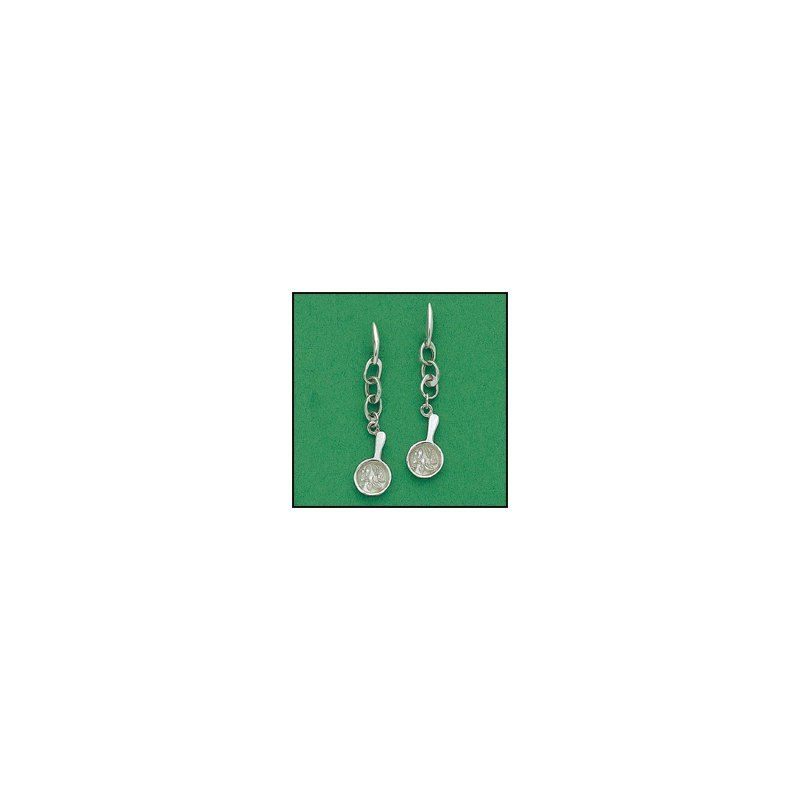 """El Paso Star and Gifts The Heartbeat of El Paso Gift Collection: """"Mexican Food Capital of the World®"""" Fajita Dangle Earrings in Sterling Silver"""