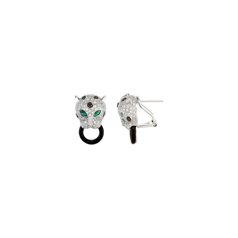 Holiday Ideas Genuine Emerald, Onyx & Diamond Earrings