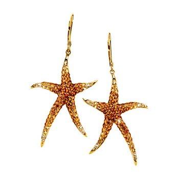 Genuine Multi Gem-stone Starfish Earrings