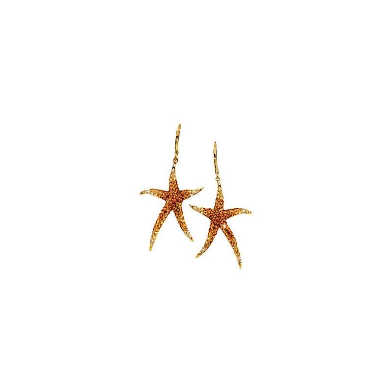 Ladies' Jewelry Genuine Multi Gem-stone Starfish Earrings