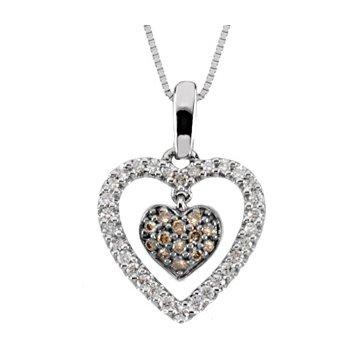 Brown & White Diamond Heart Necklace