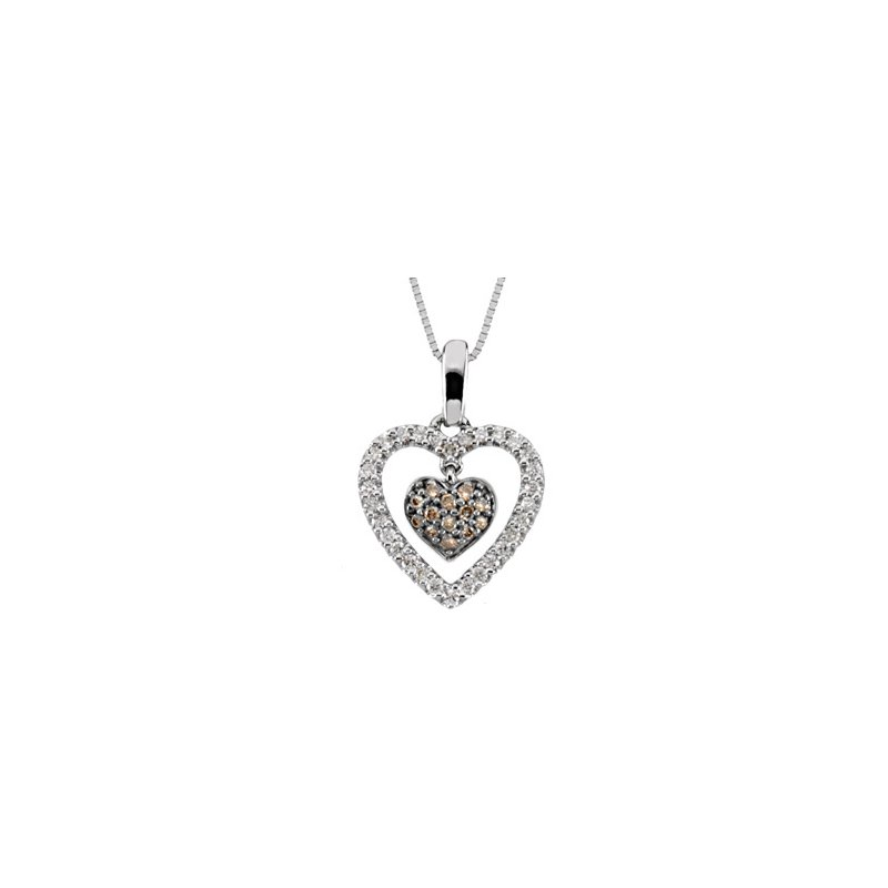 Ladies' Jewelry Brown & White Diamond Heart Necklace