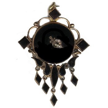 Vintage Rose Gold & Onyx Victorian Style Brooch/Pendant