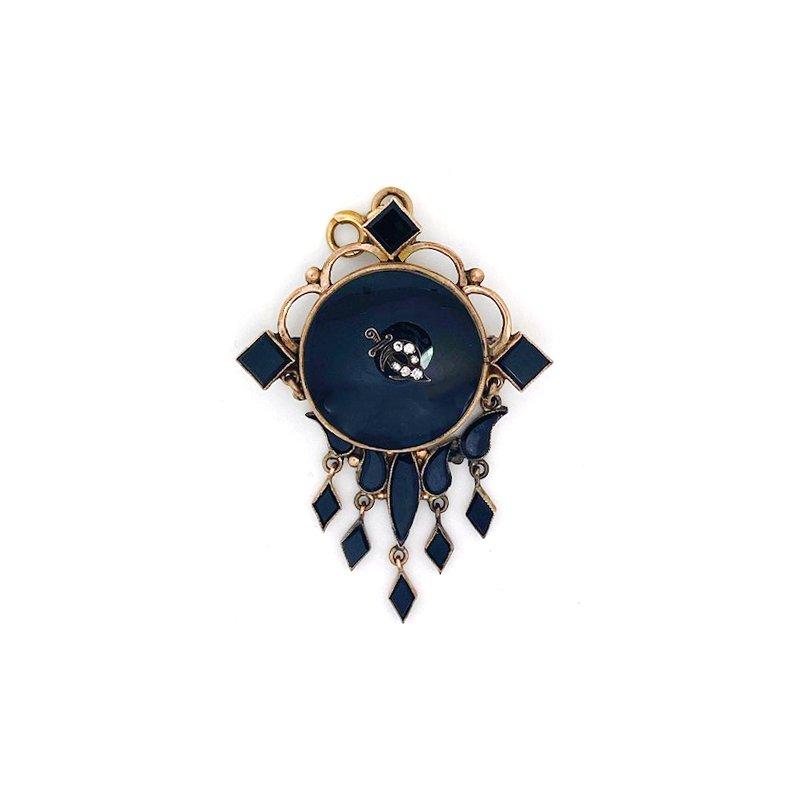 Estate & Vintage Vintage Rose Gold & Onyx Victorian Style Brooch/Pendant