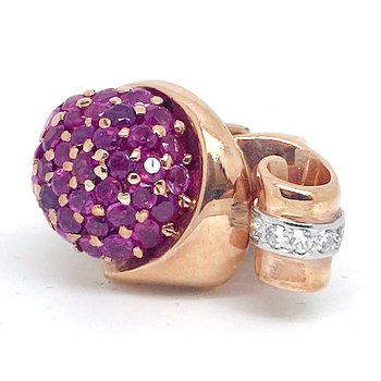 Lady's vintage Retro design, ruby, diamond, rose and yellow gold ring