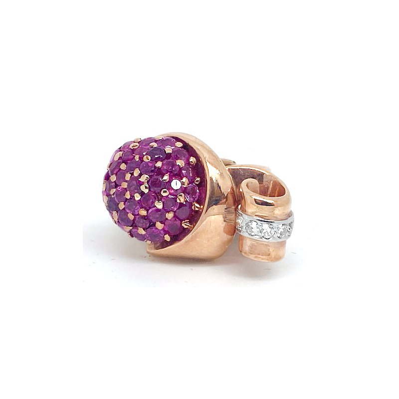Estate & Vintage Lady's vintage Retro design, ruby, diamond, rose and yellow gold ring