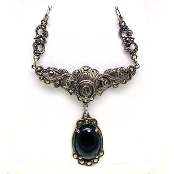Lady's vintage onyx, marcasite and sterling silver necklace