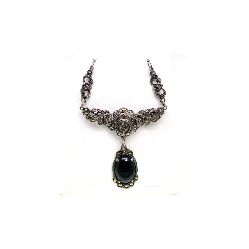 Estate & Vintage Lady's vintage onyx, marcasite and sterling silver necklace