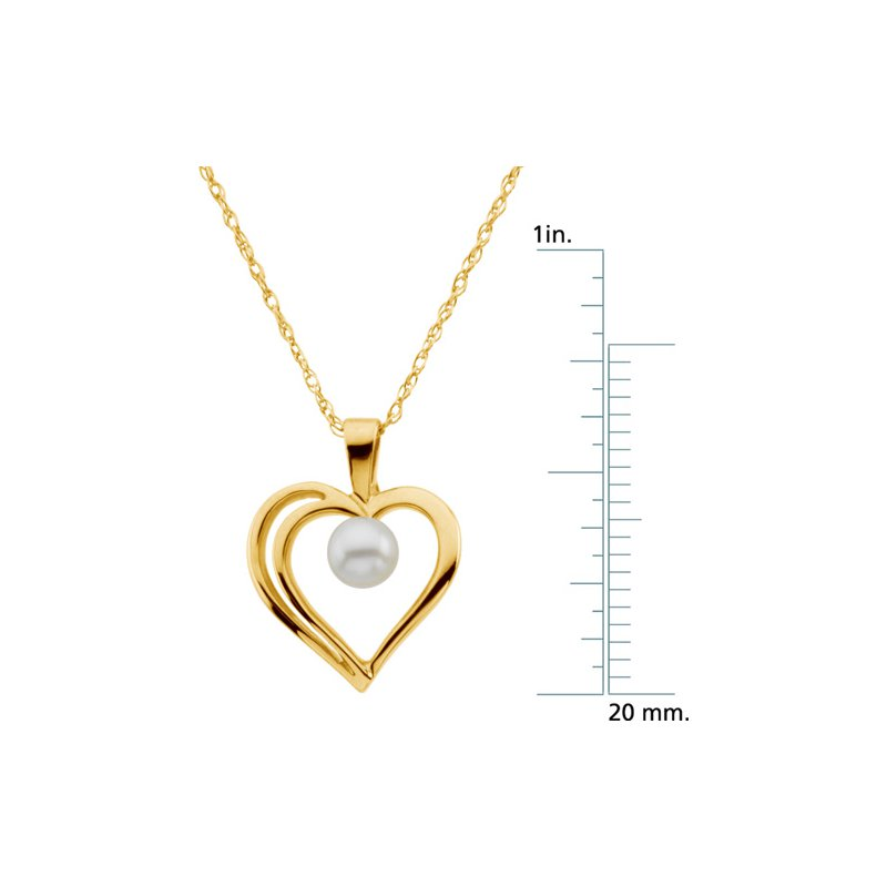 Ladies' Jewelry Akoya Cultured Pearl Heart Necklace