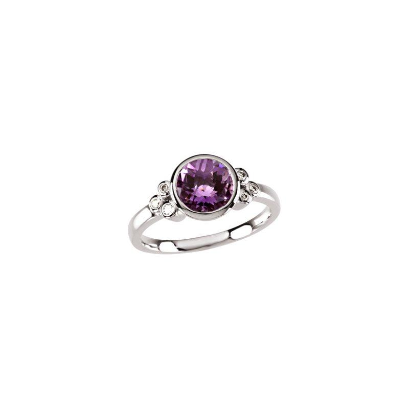 Ladies' Jewelry Genuine Checkerboard Amethyst & Diamond Ring