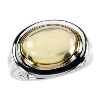 Genuine Cabochon Lime Quartz Ring