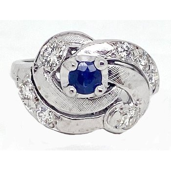 Sapphire, Diamond and White Gold, Retro Style, Ring