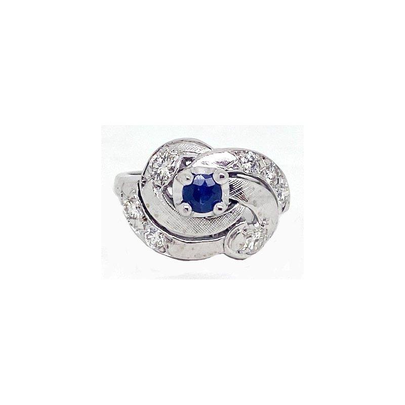 Vintage Bridal Sapphire, Diamond and White Gold, Retro Style, Ring