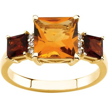 Genuine Citrine, Madeira Citrine & Diamond Ring
