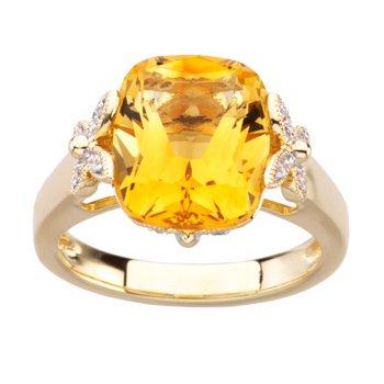 Genuine Citrine & Diamond Ring