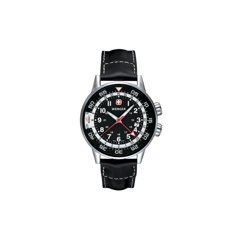 Eisen Watches Wenger Mens Black Commando Traveler Watch