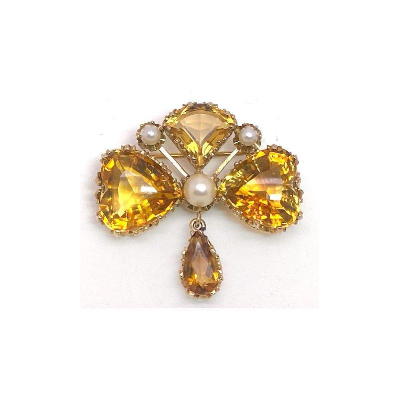 Estate & Vintage Lady's vintage citrine and seed pearl brooch