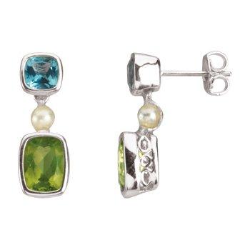 Freshwater Cultured Pearl, Swiss Blue Topaz & Peridot Earrings