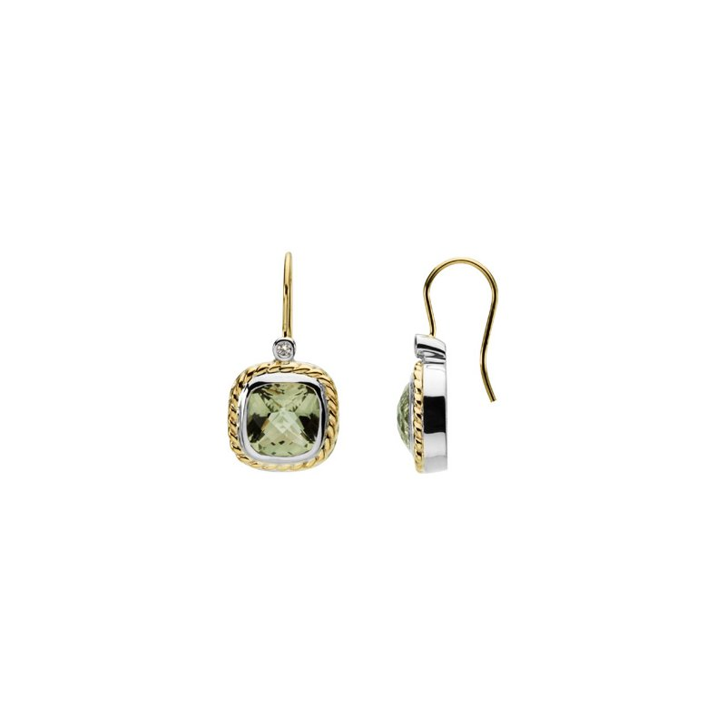 Ladies' Jewelry Genuine Checkerboard Green Quartz &  Diamond Earrings