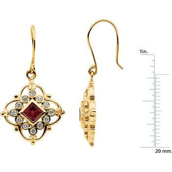 Chatham Created Ruby & Diamond Earrings