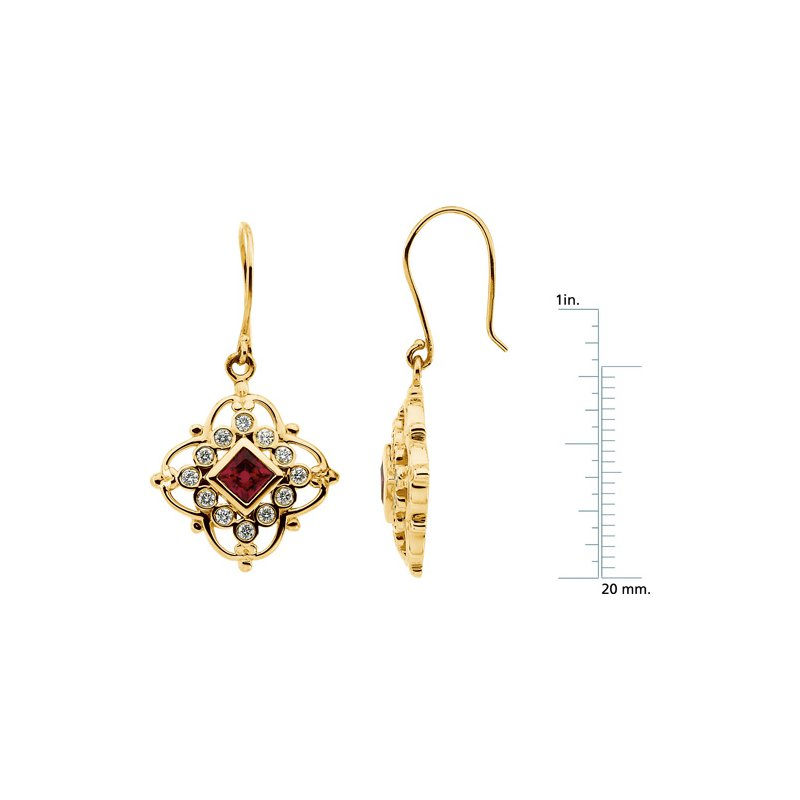 Ladies' Jewelry Chatham Created Ruby & Diamond Earrings