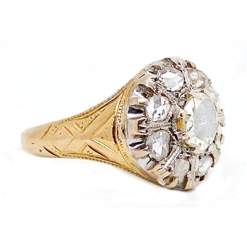 Antique, two tone, diamond ring