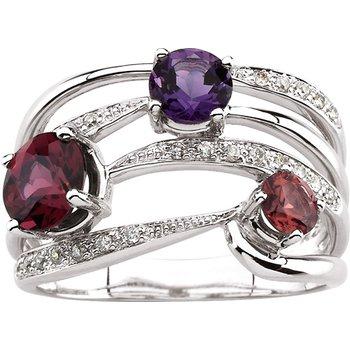Genuine Rhodolite Garnet, Amethyst, Pink Tourmaline & Diamond Ring