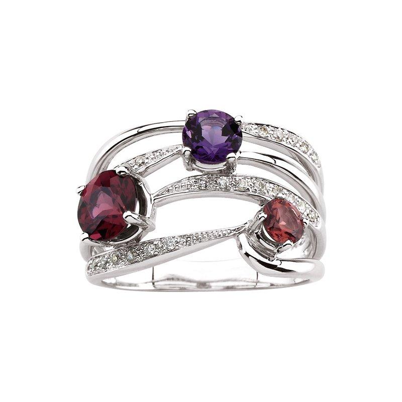 Ladies' Jewelry Genuine Rhodolite Garnet, Amethyst, Pink Tourmaline & Diamond Ring