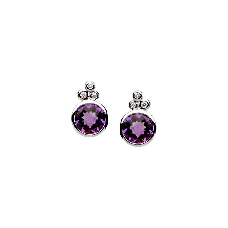 Ladies' Jewelry Genuine Checkerboard Amethyst & Diamond Earrings