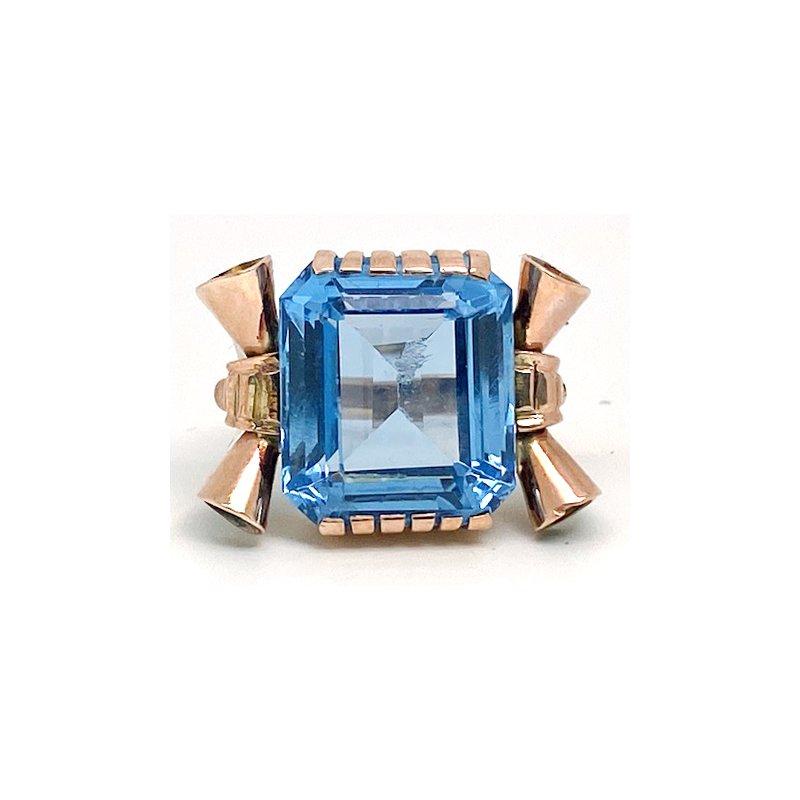 Estate & Vintage Lady's vintage retro design, synthetic spinel and rose gold ring