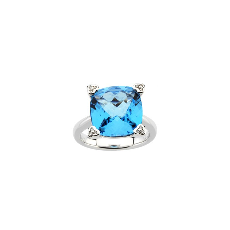 Ladies' Jewelry Genuine Checkerboard Swiss Blue Topaz & Diamond Ring