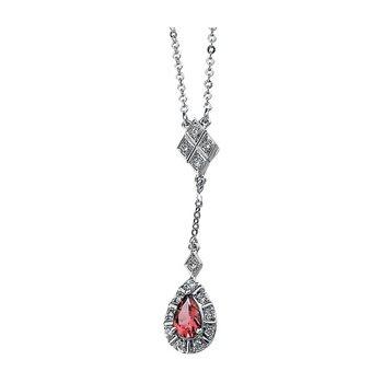 Genuine Pink Tourmaline & Diamond Necklace