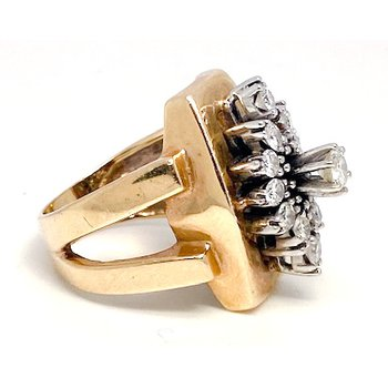 Lady's vintage diamond, white and yellow gold ring