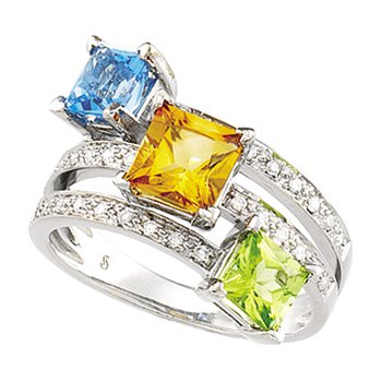 GENUINE CITRINE, PERIDOT,SWISS BLUE TOPAZ AND DIAMOND RING