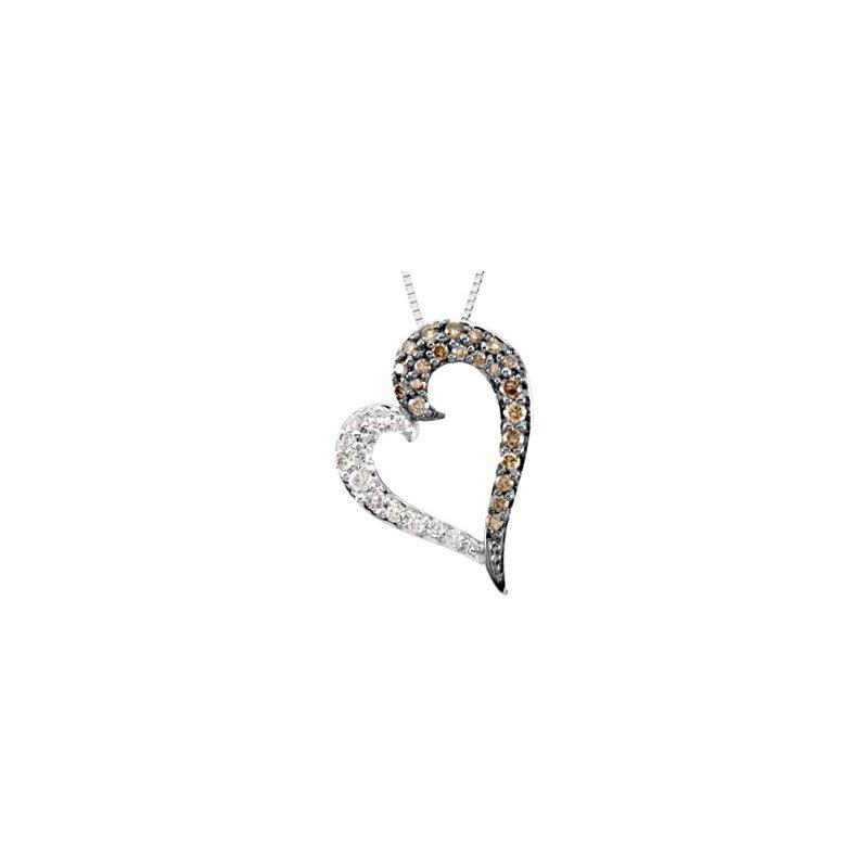 Ladies' Jewelry Brown & White Diamond Heart Necklace