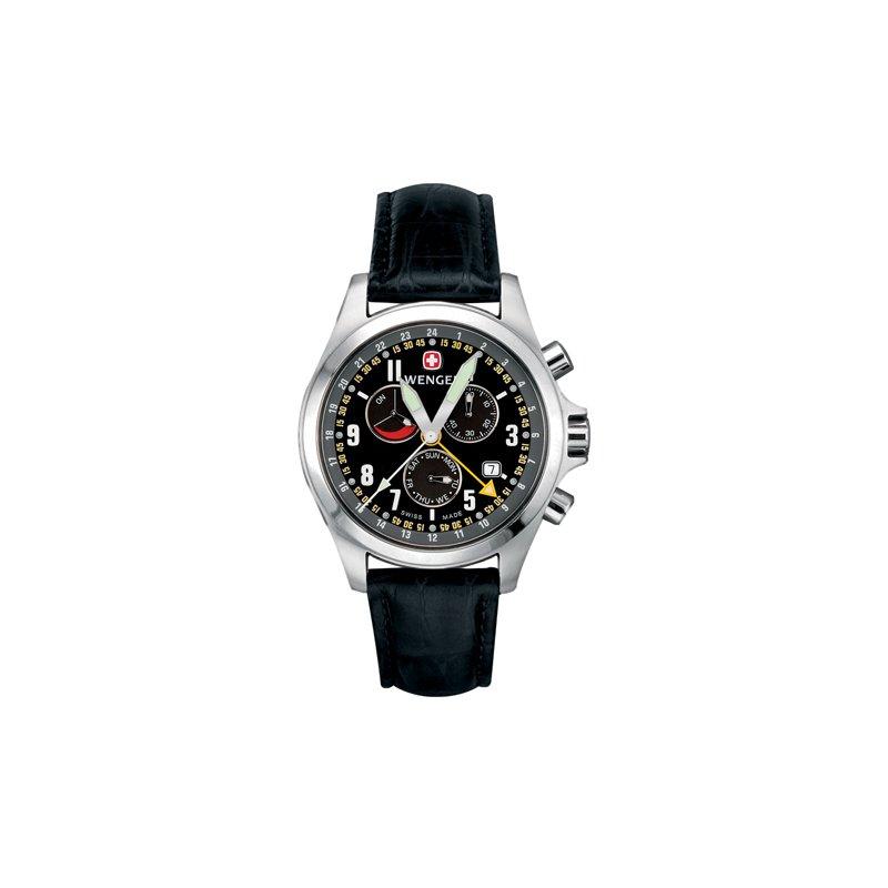Eisen Watches Wenger Mens Black Terragraph Dual Time Power Reserve Alarm Watch