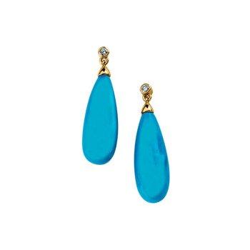 Genuine Turquoise Briolette & Diamond Earrings