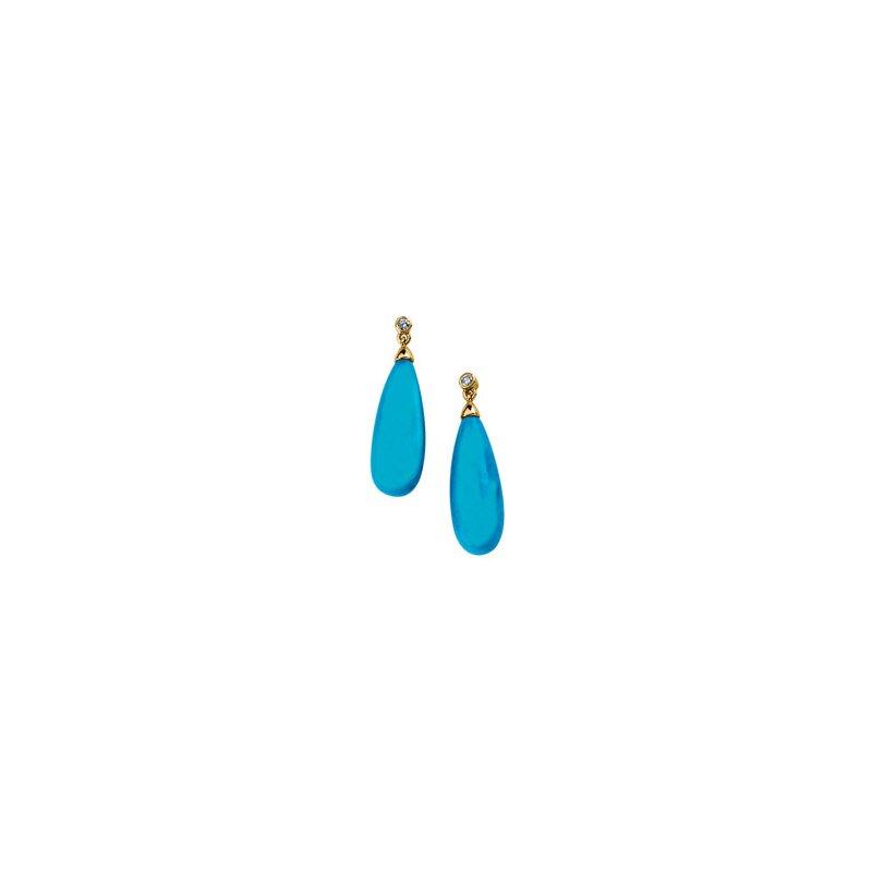 Ladies' Jewelry Genuine Turquoise Briolette & Diamond Earrings