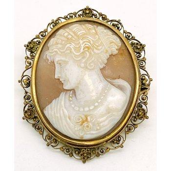 Lady's vintage, Victorian design, cameo brooch