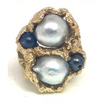 Estate & Vintage Lady's vintage grey Tahitian pearls and yellow gold freeform ring