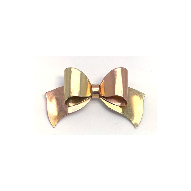 Estate & Vintage Lady's vintage yellow gold and rose gold bow brooch