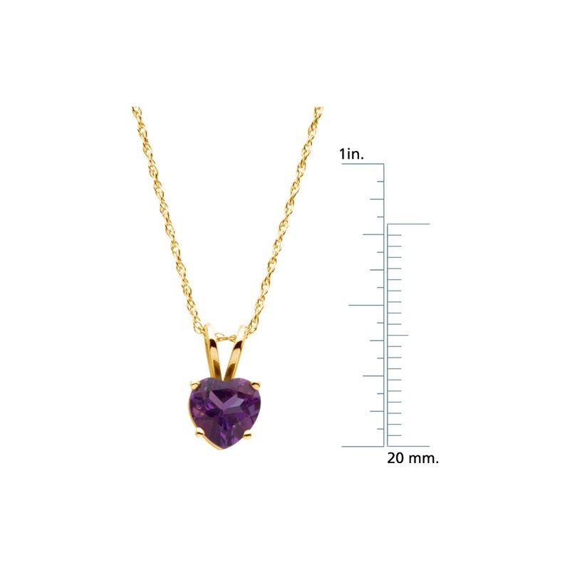 Ladies' Jewelry Genuine Heart-Shape Amethyst Necklace