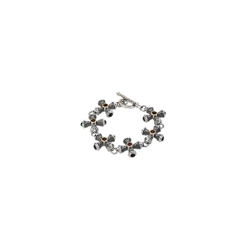 Religious Jewelry Genuine Amethyst and Sapphire Crosses Bracelet